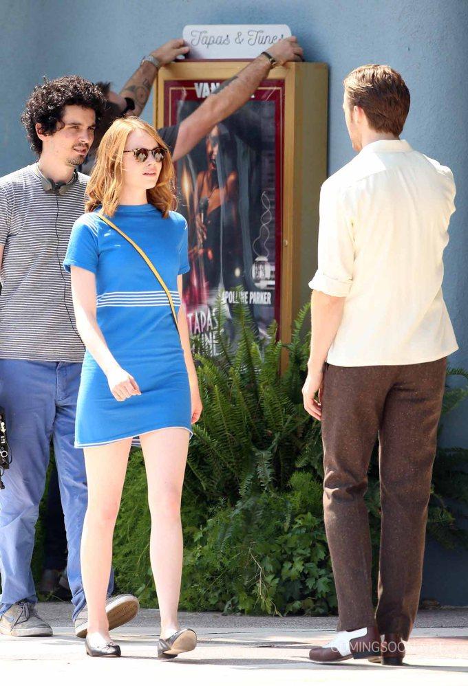 Stars On The Set Of 'La La Land'